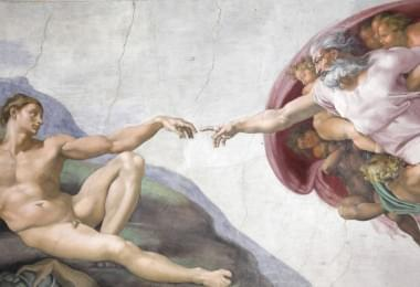 The Creation of Adam by Michelangelo at the Sistine chapel, Vatican city, Rome, Italy